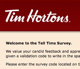 www.telltims.com Survey Validation Code